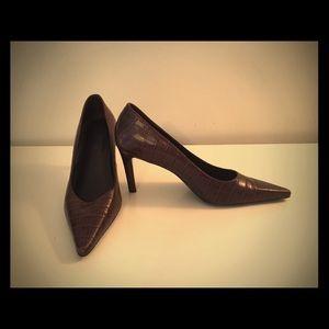 Ralph Lauren crocodile embossed leather heels